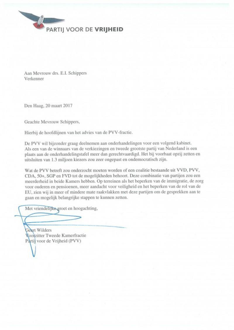 Advies PVV aan de verkenner
